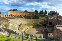Old amphitheater in Taormina, Sicily stock image