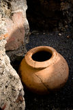 Old amphora. Old clay amphora in Pompeii royalty free stock image