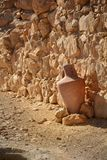 Old amphora in Masada fortress in Israel royalty free stock photography