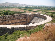 Old ampitheatre in the Turkish countryside. A View of Turkish Countryside Stock Photo