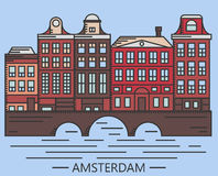 Old Amsterdam Holland houses on bridge set vector Stock Photo