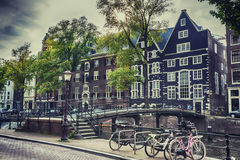 Old Amsterdam near Oudezijds Voorburgwal, september 2014 Royalty Free Stock Photo