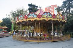 Old amusement park in Tirana, Albania. TIRANA, ALBANIA - AUGUST 2017: An old small amusement park in the center of Tirana, the capital of Albania stock photography