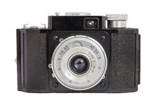 Old analog camera on film 35mm format isolated on a white background  Royalty Free Stock Image