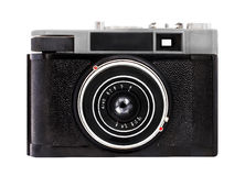 Old analog camera on film 35mm format isolated on a white background Royalty Free Stock Photos