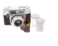 Old Analog Camera And Film Roll II Royalty Free Stock Photography