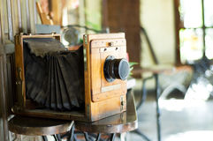 Old analog camera studio copy space. Old analog camera studio interior Royalty Free Stock Photo