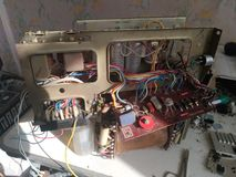 Old analog electronic board and components of tube tv Stock Photos
