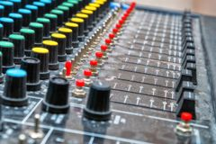 Old analog mixing console stock photo