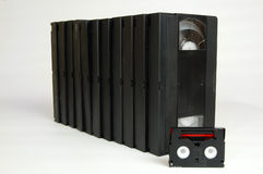 Old analog video cassette tapes vhs dv Royalty Free Stock Photos