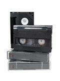 Old analog video cassettes hi8 v8 Stock Image