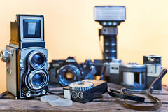 Old analogue photographic cameras Stock Photography