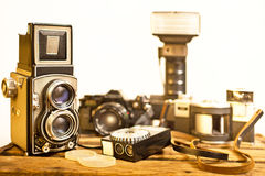 Old analogue photographic cameras Stock Photos