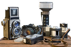 Old analogue photographic cameras Stock Images