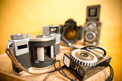 Old analogue photographic cameras Royalty Free Stock Photography