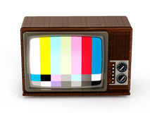 Old analogue television with test screen. 3D illustration Royalty Free Stock Images