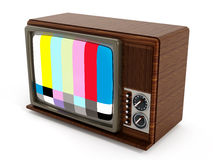 Old analogue television with test screen. 3D illustration Royalty Free Stock Photography
