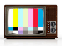 Old analogue television with test screen. 3D illustration Stock Images
