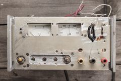 Old analogue voltmeter and amperemeter Royalty Free Stock Images