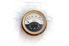 Old analogue voltmeter of a factory Royalty Free Stock Image