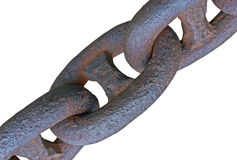 Old anchor chain. On a white background royalty free stock photography