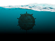Old anchor contact mine concept. Old anchor contact mine under water concept Royalty Free Stock Photo
