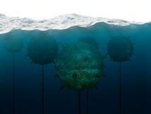 Old anchor contact mines under water concept. Old anchor contact mines under water Stock Images