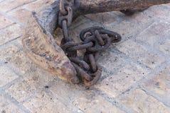 Old anchor. Palos de la Frontera, España. Rusty ancient old anchor. Palos de la Frontera, España Royalty Free Stock Images