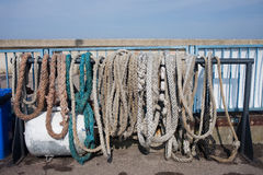Old Anchor Ropes and Mooring Lines Royalty Free Stock Photo