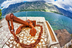 Old anchor on the waterfront Royalty Free Stock Photos