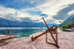 Old anchor on the waterfront Royalty Free Stock Image