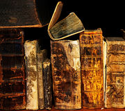 Old and ancient books on shelf Royalty Free Stock Photos