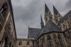 The old and ancient cathedral in Halberstadt, Germany.  stock photography