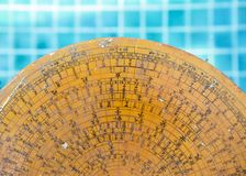 Old ancient Chinese wooden feng shui compass Royalty Free Stock Photos