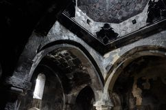 Old ancient christian church interior with amazing natural light Royalty Free Stock Photos