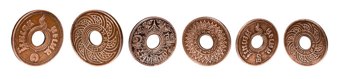 Old Ancient Coins Of Thailand isolated on white background,clipping path Royalty Free Stock Photography
