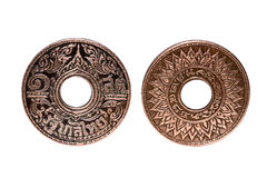 Old Ancient Coins Of Thailand isolated on white background,clipping path Royalty Free Stock Photo