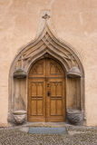 Old ancient entrance door made of wood Stock Photos