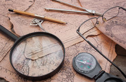 Old ancient history map table. Stock Photo