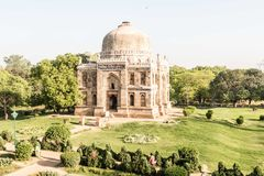 Old ancient Indian stone building in the park. New Delhi early morning Stock Images