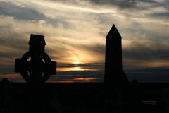 Old Ancient Irish Celtic Cross. An Old Irish Celtic Cross against a beautiful Sunset Royalty Free Stock Photos