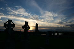 Old Ancient Irish Celtic Cross. An Old Irish Celtic Cross against a beautiful Sunset Royalty Free Stock Images