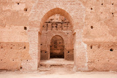 Old ancient palace doors and passageways. Old ancient building that's a part of the Al Badhi Palace complex in Marrakesh, Morocco stock image