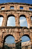 Old Ancient Roman Amphitheater arena in Pula, Croatia Royalty Free Stock Images