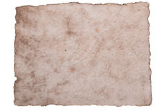 Old ancient sheet paper isolated on white background Stock Photos