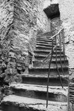 Old ancient stone made stairlead to a door Stock Images