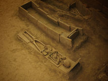 Old ancient tomb. With skeleton Royalty Free Stock Photos