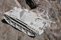 Old Ancient Vinatge Figurine Model Gray Tank Royalty Free Stock Images