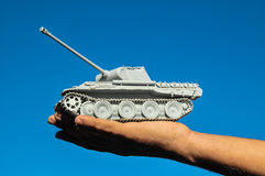 Old Ancient Vinatge Figurine Model Gray Tank Royalty Free Stock Photo