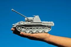 Old Ancient Vinatge Figurine Model Gray Tank Royalty Free Stock Photo